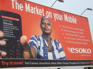 Photo: Advertisement from Esoko, a mobile phone company in Ghana offering market price information to farmers in Ghana.